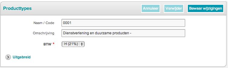 Voorkeuren - Producttypes - 2